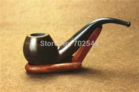 HOT NEW Mens Real Pipes Tobacco Pipe Mahogany Pipe Rosewood Smoking Glossy Solid Wood Briar Ebony Cigarette Holder (1 pcs/lot)