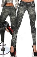 Sexy Women Jeans Europe and America Apparel Vintage Printed Tattoo Leggings Pants Females Casual Denim Skinny Trousers