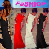 European fashion women sexy backless bodycon maxi halter dress summer pencil strap long party dresses vestidos white red black