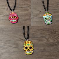 Multicolour print skull hiphop necklace hiphop male female accessories