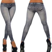 European Style Women Jeans Slim Printed Casual Denim Trousers Female Vintage Elastic Waist Sexy Tattoo Leggings Jeans Pants