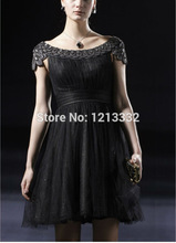 2014 Black scoop Sequined Tulle A-Line Mini-Length Cocktail dresses/homecoming dress prom/party dresses/Free custom 0113(China (Mainland))
