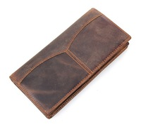 New 100% Top cow genuine  Male Zipper Pocket Coin Wallet Fashion Long style Business purse/ Card Holder Man Wallets