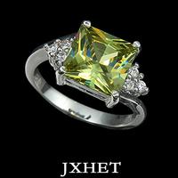 Platinum green Austrian imitation diamond 1.25 carat ring (JXHET-JZ013)