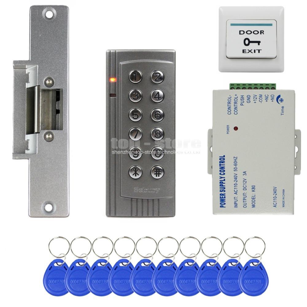 diy rfid 125khz reader keypad access control system security kit electric strike door lock. Black Bedroom Furniture Sets. Home Design Ideas