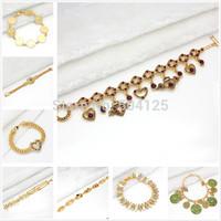Min.mix order is $10 -- Arab 9K Gold Filled Unisex bracelet plated chain greek nazar crystal charms gold
