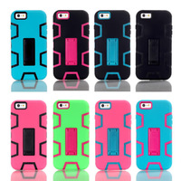 Lovely Candy Color PC Silicone Rubber Neo Hybrid Robot Armor Case Kickstand Back Cover Fundas Capa Para for iPhone 6 Plus 5.5