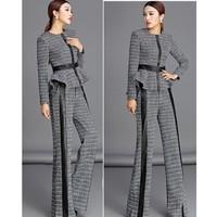 Original Design 2014 Autumn Winter Ladies Small Fragrant Style Coat Wide leg Pants Fashion 2 Piece Set Women S18 Free Shipping