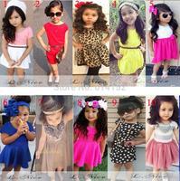 European American L.nice34 fashion girls dress children kids girl Short sleeve clothing dress free gift belt 10 style can choose