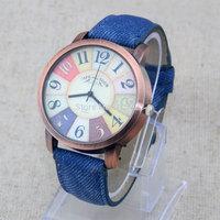 Fashion Multicolor Dial Denim PU Leather Bronze Dial Womens Analog Quartz Wristwatches Gift