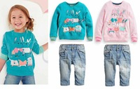 2015 Spring Girls Clothing Sets ( Girls Hoodies + Jeans / Denim Pants ) Fashion Animal Cartoon Infantil Kids Clothes Casual Suit