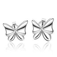 New Women Men Earrings Jewelry 925 Sterling Silver Butterfly Earrings Fashion Women Stud Earrings Wholesale