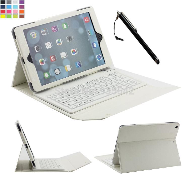 For Apple iPad Air 2 / iPad 6 9.7 inch 3-In-1 Slim Silicone Wireless Bluetooth Keyboard Portfolio PU Leather Folio Case Cover(China (Mainland))