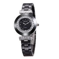 WEIQIN Senior Brand Women Dress Rhinestone Decoration Waterproof Ceramic Watches Hardlex Analog Quartz Movement Watch