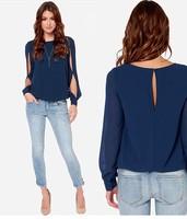 2014 Women Long Sleeve Blouse Chiffon Hollow Blusas Sexy Casual Lady's Tops Blusas Femininas High Street Shirt Plus Size 3XL ZAB