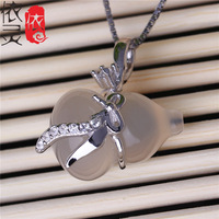 S925 sterling silver inlaid natural ice chalcedony pendant hoist pendant Korean high-grade female models the wholesale