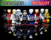9pcs/lot. Super hero Iron Man Building Block Figures Toys Decool Minifigures Plastic Building Blocks Sets Model diy Toys Bricks