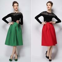 Free shipping Fashion Womens Vintage Retro Hepburn Solid High Waist A-Line Midi Skirts Ball Gown Below Knee #731