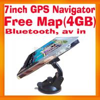 7inch Universal Car GPS Navigator Bluetooth av in Dashboard Super Thin Design Metal Frame MTK 800MHZ CPU FMT4GB free map