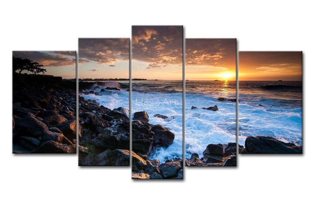 5 peça Wall Art Painting havaí costa do sol imagem de impressão na lona Seascape 4 3 The Picture Home Decor impressões petróleo(China (Mainland))