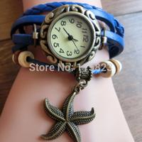 Hot sale Vintage Women Dress Watch Quartz Watch Weave Wrap Synthetic Leather Bracelet Wrist Watch 7 Colors