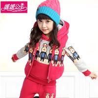 Children's clothing female child autumn 2014 winter thickening child sweatshirt piece set big boy women's sports set