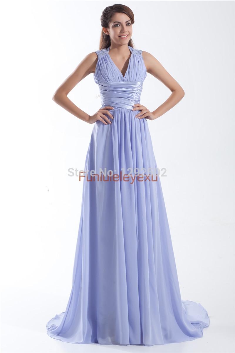 23Elegant Lavender A Line V Neck Tank Sleeveless Beading Sashes Chiffon Pageant Prom Dress Long Evening Gowns Size 2 4 6 8 10 16(China (Mainland))