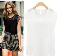 2014 European and American star of the same paragraph summer women loose short-sleeved chiffon shirt large size women wild shirt