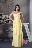 Long yellow tape prom dress
