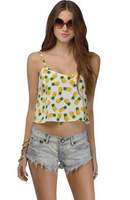 Free Shipping loose short tank in chiffon crop top with pineapple full print for wholesale