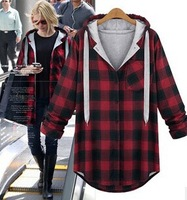2015 Winter coar for ladies long sleeve hoodies plaids loose thick outwear casual jacket women clothing 2color plus size XL-5XL