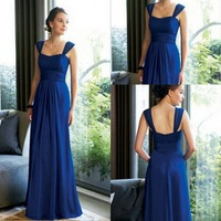 Fast Shipping Straps Royal Blue Long Cheap Bridesmaid Dresses 2014 Under 50 Bridesmaids Dresses country style Party Gown DS187