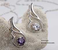 South Korean 925 sterling silver Angel wing shaped lucky pendant no chain accessories wholesale for women / piece