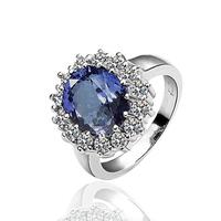 Hot sale Free Shipping Fashion Luxury Women Wedding Jewelry 18k Gold Crystal Gem Zircon Female Finger Flower Rings Gifts 18R027
