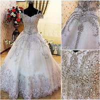 w06 Off The Shoulder Organza Tulle 2015 Luxury Wedding Ball Gowns Bride dress Crystals Cathedral Wedding Dresses Real Photo