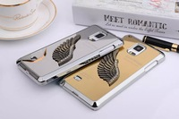 Note4 Luxury Chromed Mirror Surface Angel Wing 3D Metal Plastic Hard Case For Samsung Galaxy Note 4 IV N9100 Cover