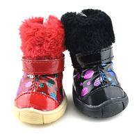 HQ XS-XL Small Dog Cat Pet PU Leather Warm Dots Fur Anti-slip Snow Boots Shoes
