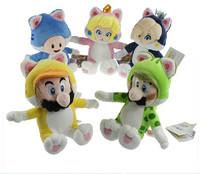 5pcs/set Super Mario New 3D World Cat Series Mario Luigi Toad Princess Peach Rosalina Stuffed Animals Plush Toy With Tag 18-20cm