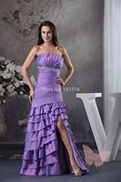 Purple long section split Prom Dresses