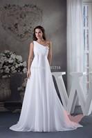 Temperament white shoulder prom dress.