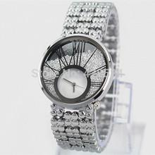 New Model Fashion women watch brand Luxury Lady Wristwatch with Sparkling flow diamonds branded Stainless steel Silver Watch