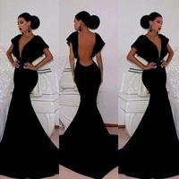 2015 Black Mermaid Backless Prom Dresses Deep V-Neck Sexy Open Back Trumpet Evening Dresses Vestidos De Formatura LF005