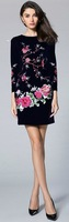 High Quality Luxury Women Embroidery Sheath Dress Long Sleeves Mini Casual Dresses KC912