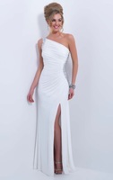 Simple Design 2015 White Long Prom Dress One shoulder Sleeveless Slit Side Floor Length White Beaded Crystal Evening Dress