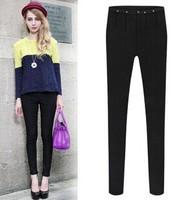 2015 Spring antumn pants for ladies long silm fashion pants legging trousers women clothing thick velvet trousers black S-2XL