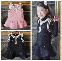 2015 Baby Girls High Quality Elegant Formal Lady Flower Trim Collar Vest Dresses Wholesale 5 pcs/lot, Free Shipping