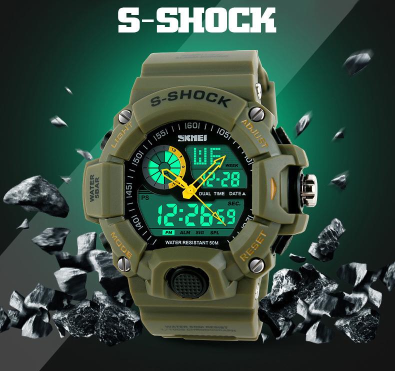 Sports Watch Men Military Wristwatch Army fashion Digital Analog Quartz Watch Multiple Time relogio G Watch Anti Shock S-shock(China (Mainland))