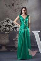 Mature green V collar prom dress.