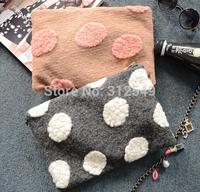 New Arrival High Quality Faux Fur Big Dots Printed Bag Women Handbags Shoulder Messenger Bags Clutch Purse Evening Bags #BA323