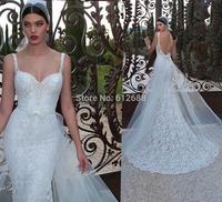 Romantic Brand vestido de noiva Sweetheart Beading Lace Spaghetti Straps Sexy Open Back Chapel Train Mermaid Wedding Dress 2015